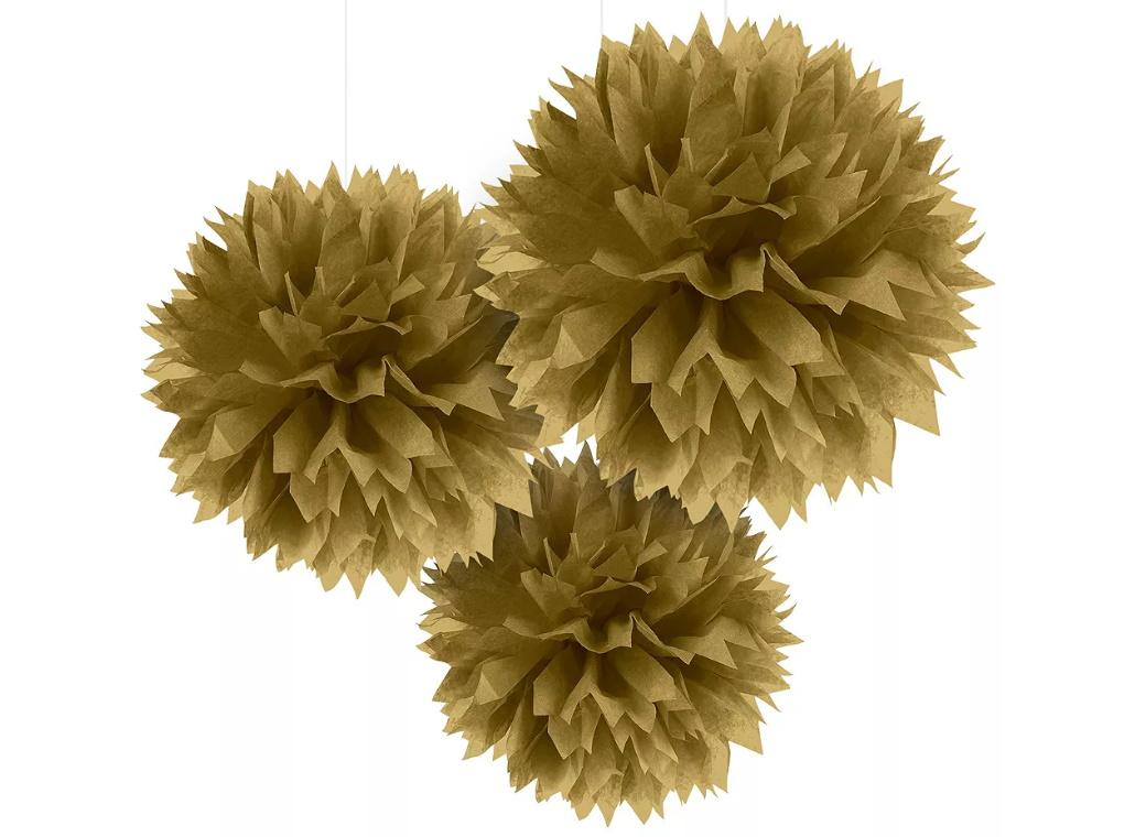 Fluffy Tissue Pom Poms 3pk - Gold