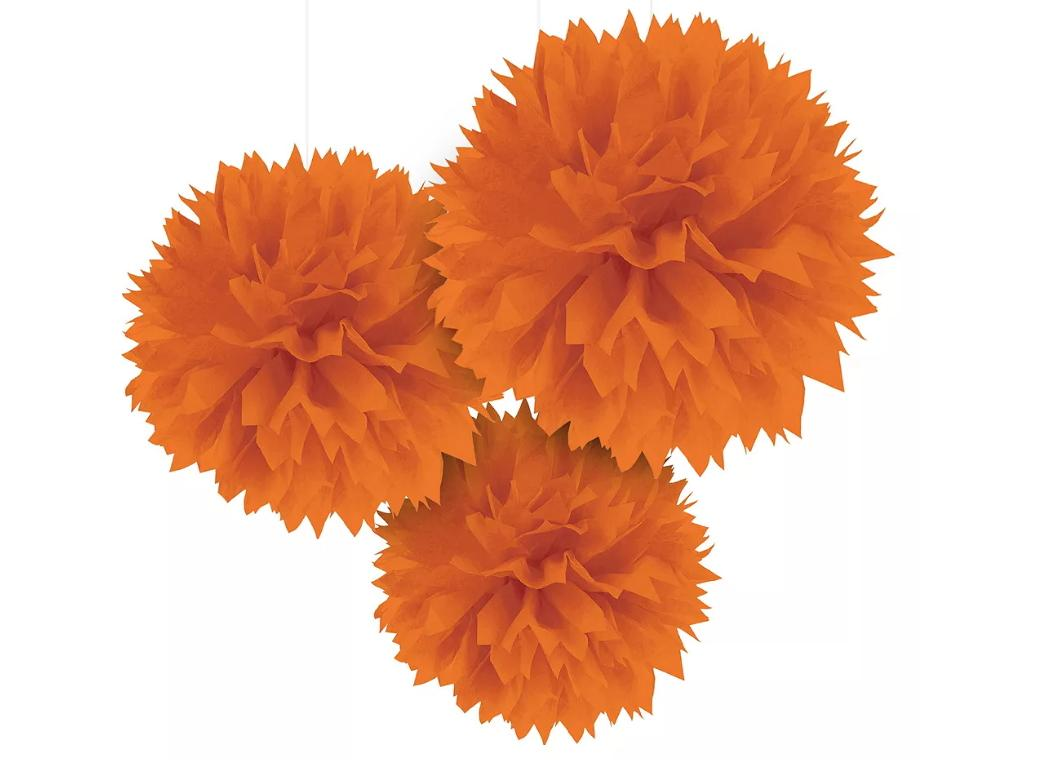 Fluffy Tissue Pom Poms 3pk - Orange