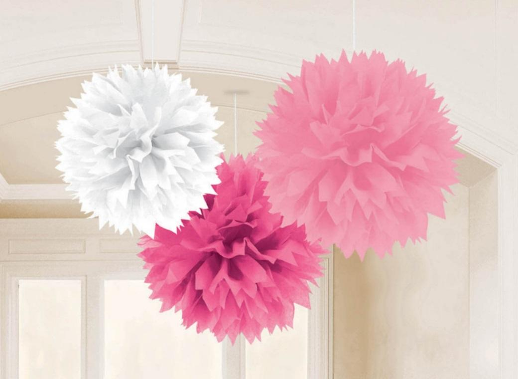 Fluffy Tissue Pom Poms 3pk - Pinks