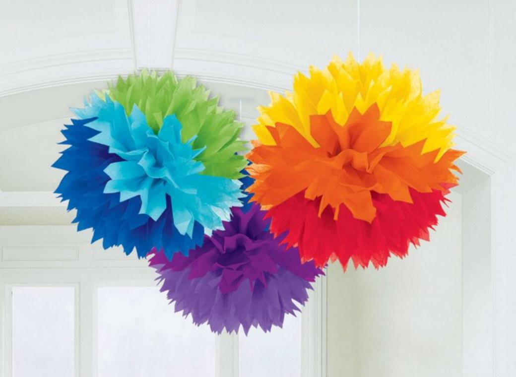 Fluffy Tissue Pom Poms 3pk - Rainbow