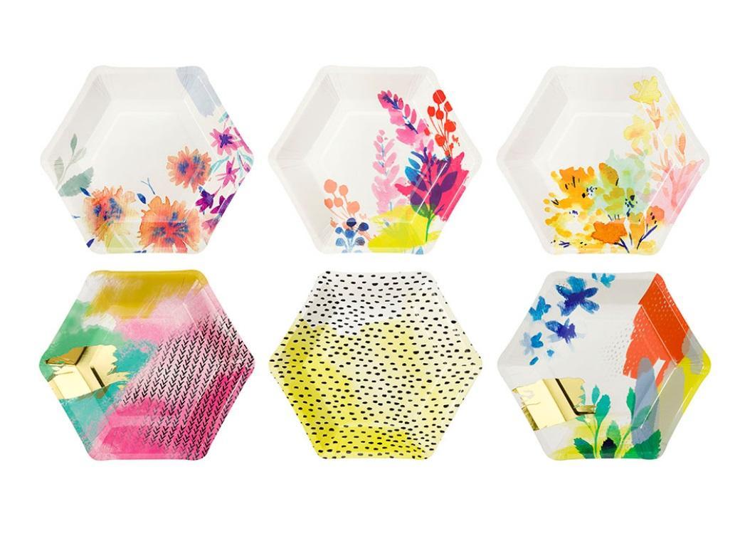 Fluro Floral Hex Plates 12pk