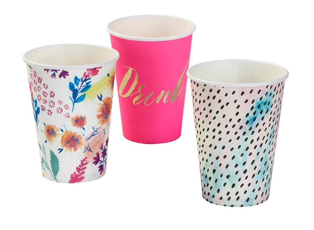 Fluro Floral Paper Cups 12pk