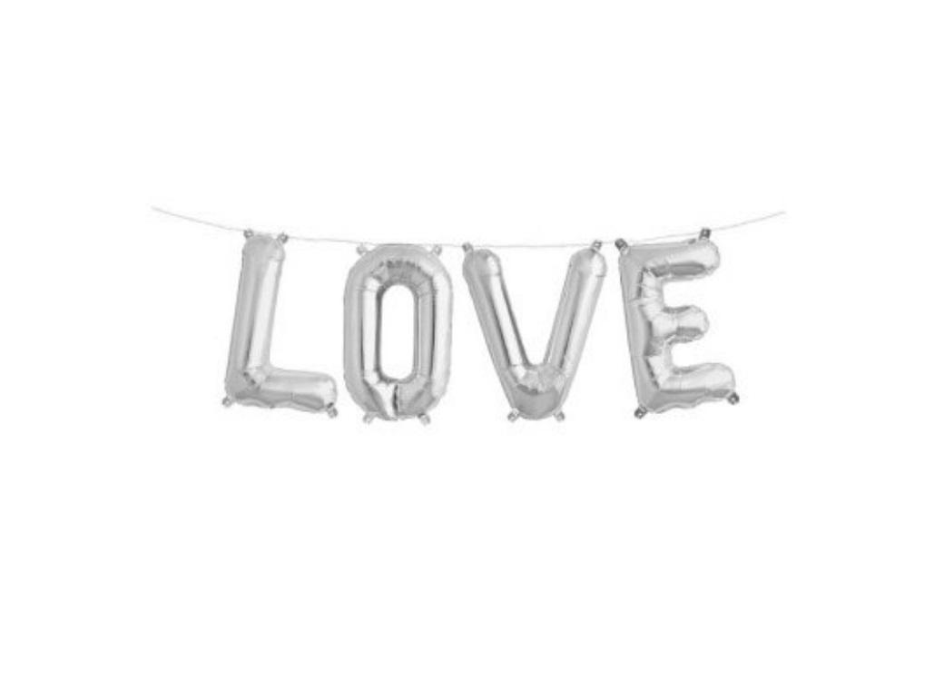 Foil Balloon Kit - Silver Love