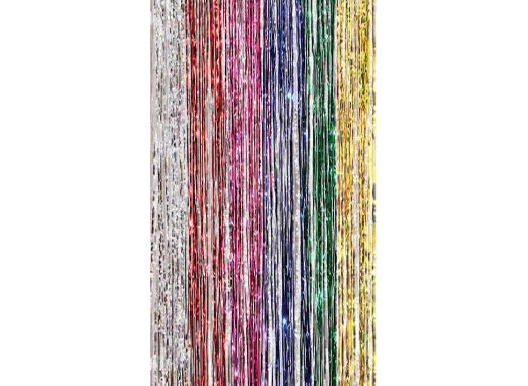 Multi-Coloured Foil Fringed Door Curtain