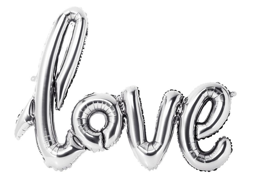 Silver 'Love' Script Balloon