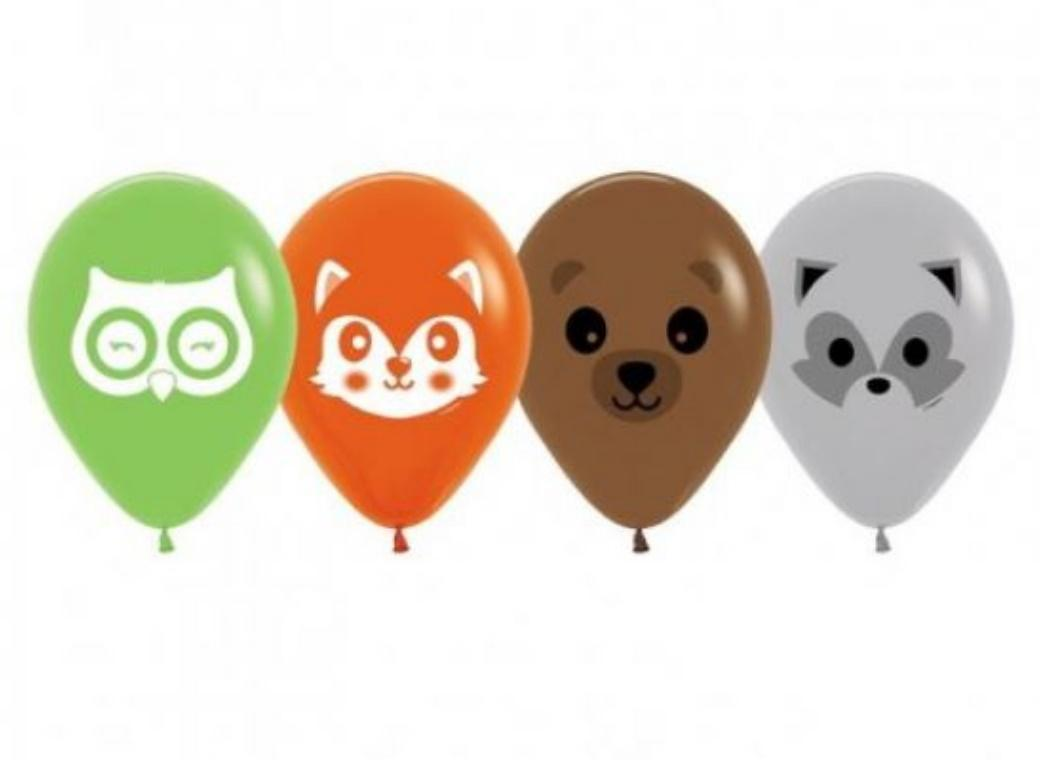 Forest Animal Faces Balloons 5pk