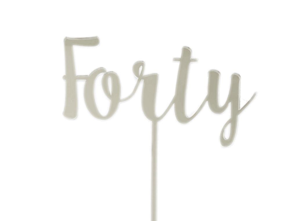 Forty Cake Topper - Silver Mirror