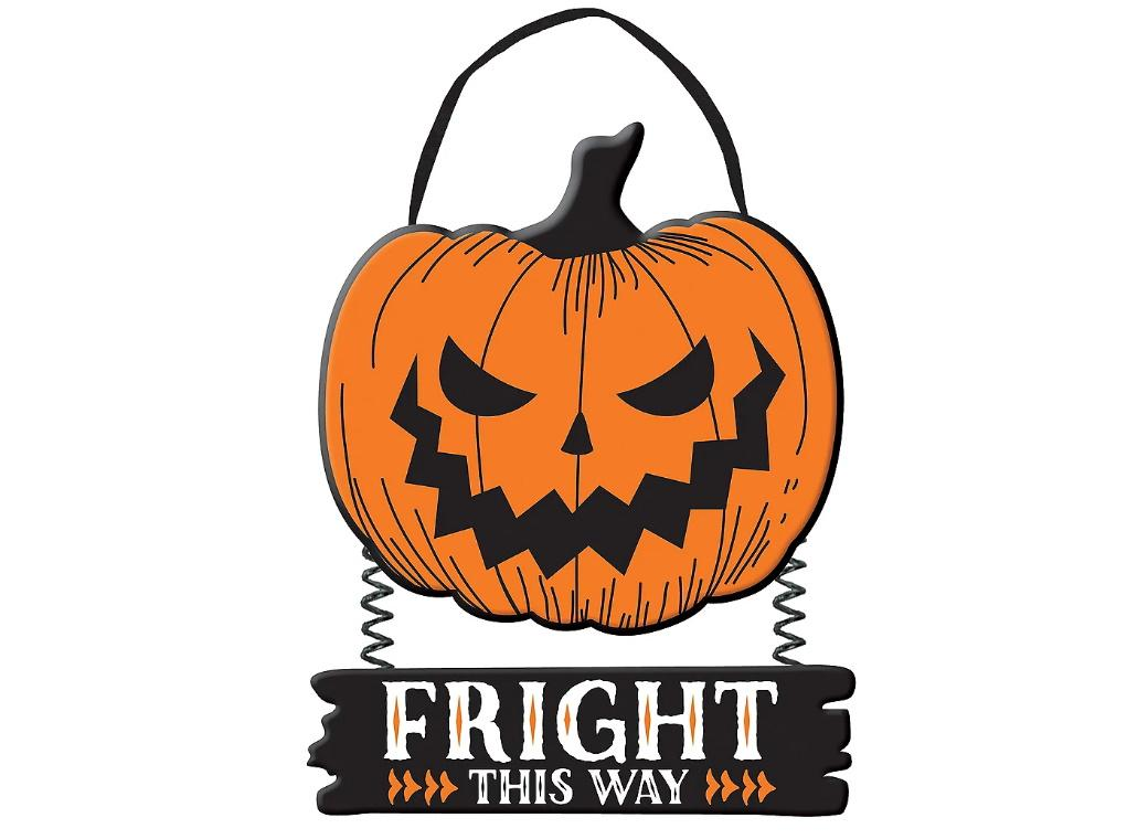 Fright This Way Hanging Sign