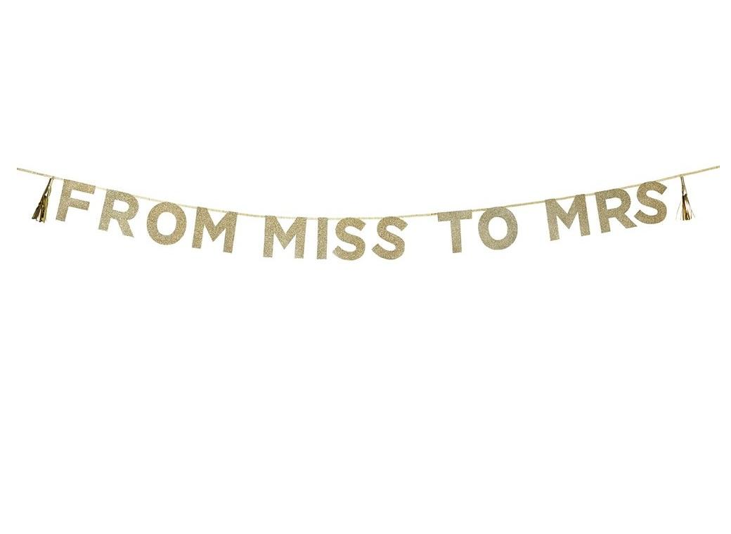 'From Miss to Mrs' Glitter Garland