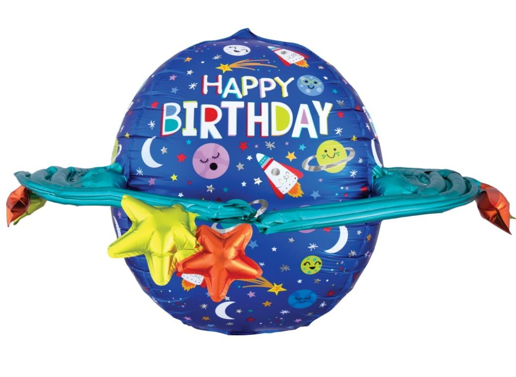 Galaxy Happy Birthday UltraShape Foil Balloon