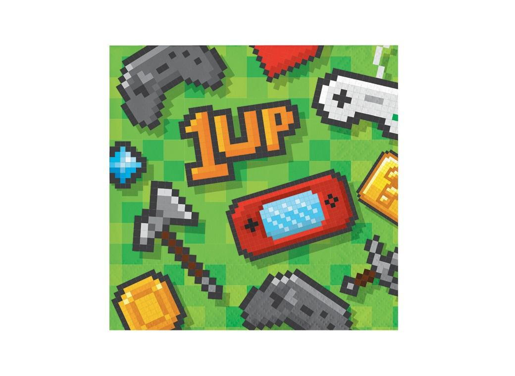 Gaming Party Beverage Napkins 16pk