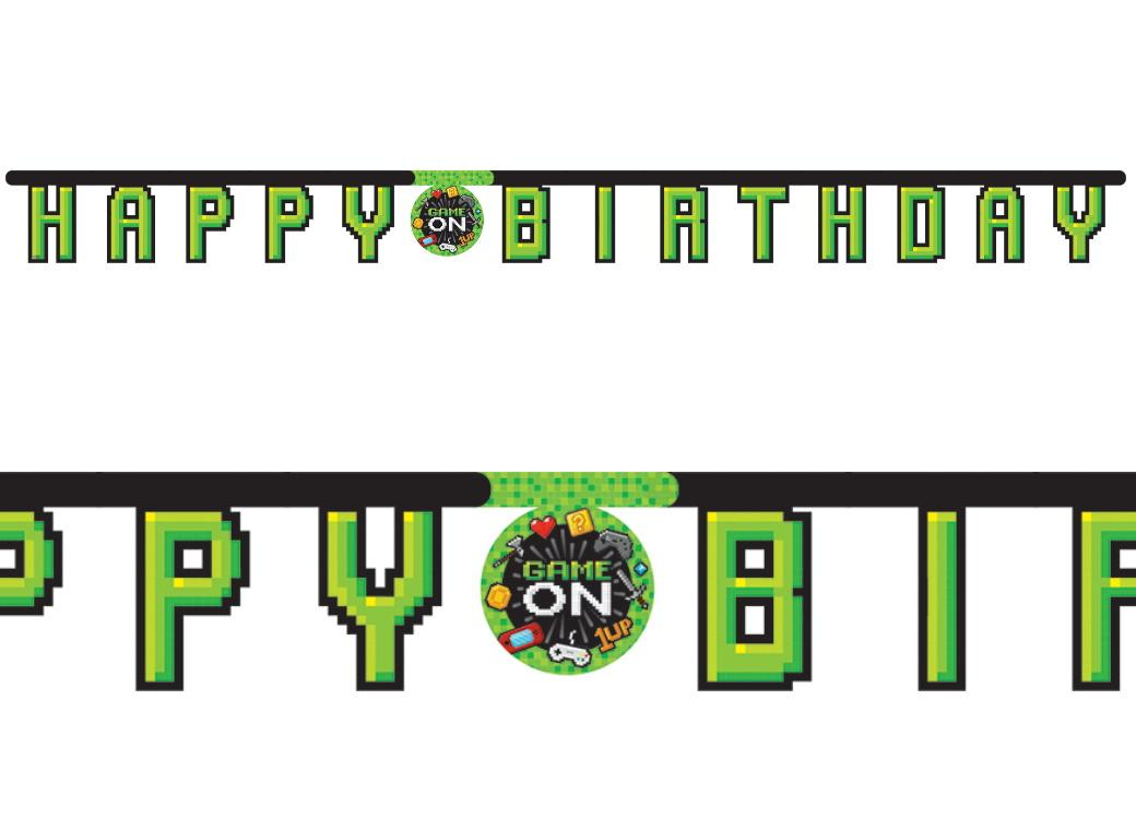 Gaming Party Happy Birthday Banner