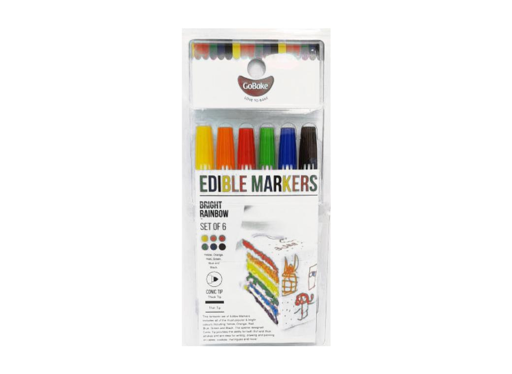 GB Edible Markers 6pk - Rainbow