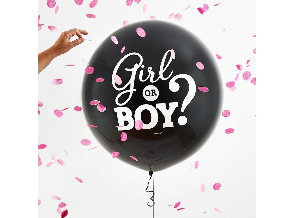 Gender Reveal Balloon with Confetti - Girl