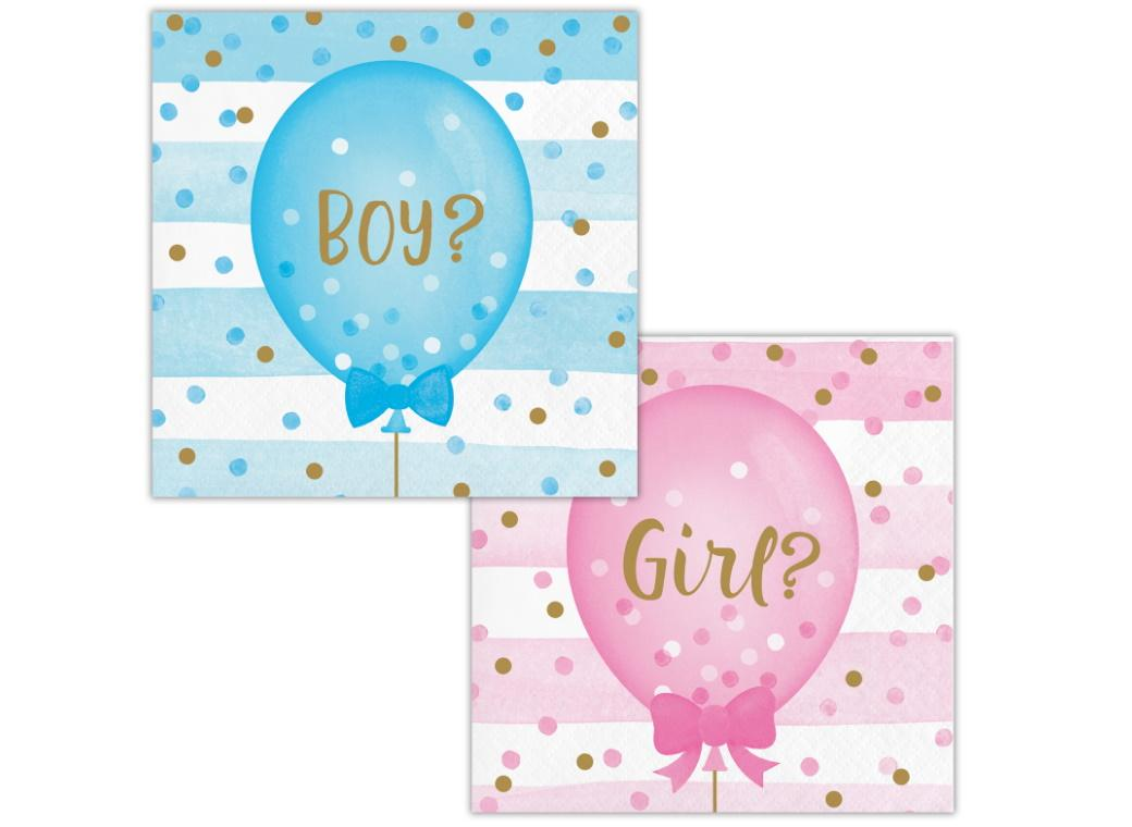 Gender Reveal Balloons Beverage Napkins 16pk