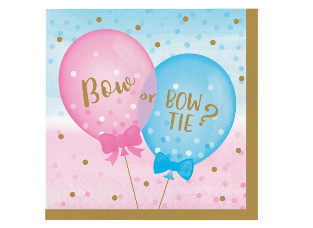 Gender Reveal Balloons Lunch Napkins 16pk