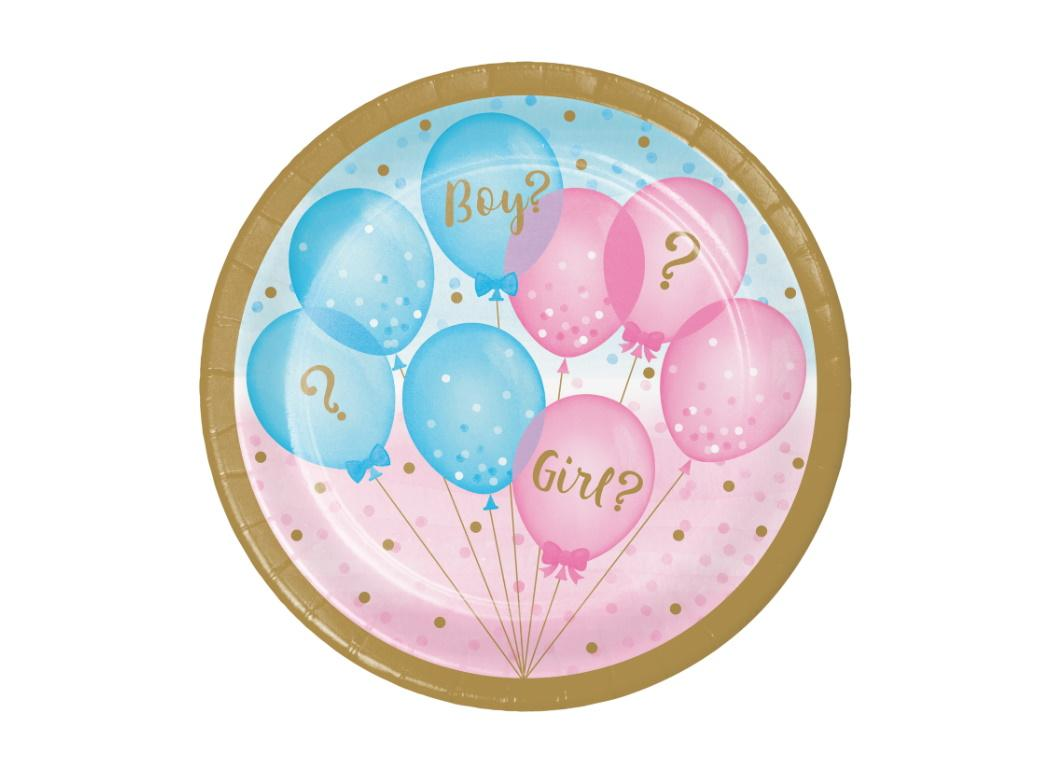 Gender Reveal Balloons Lunch Plates 8pk