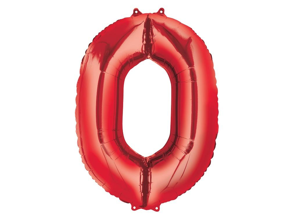 86cm Red Number Balloon - 0