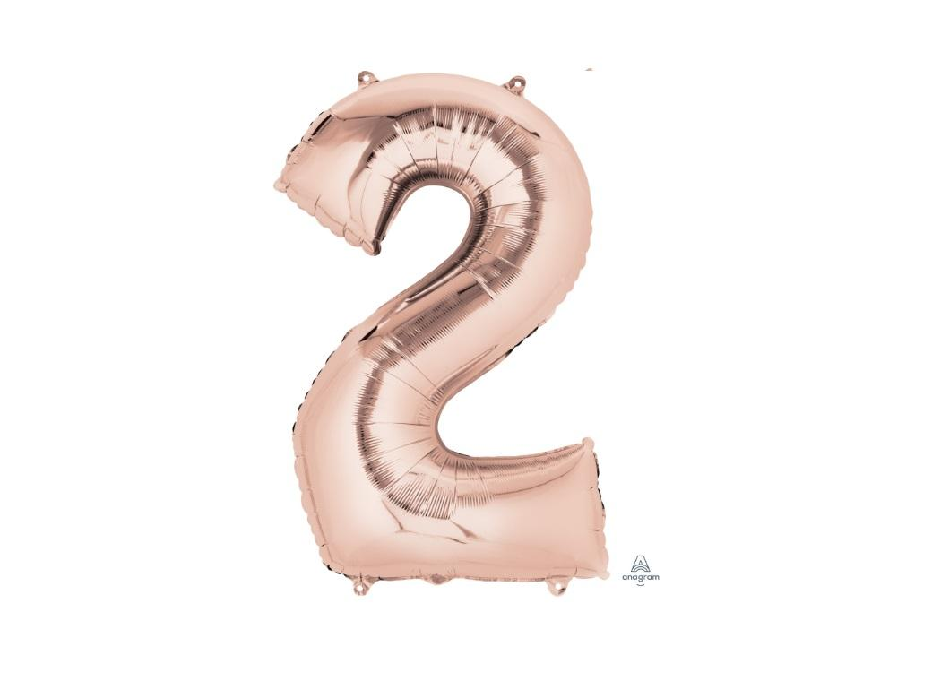 86cm Rose Gold Number Balloon - 2