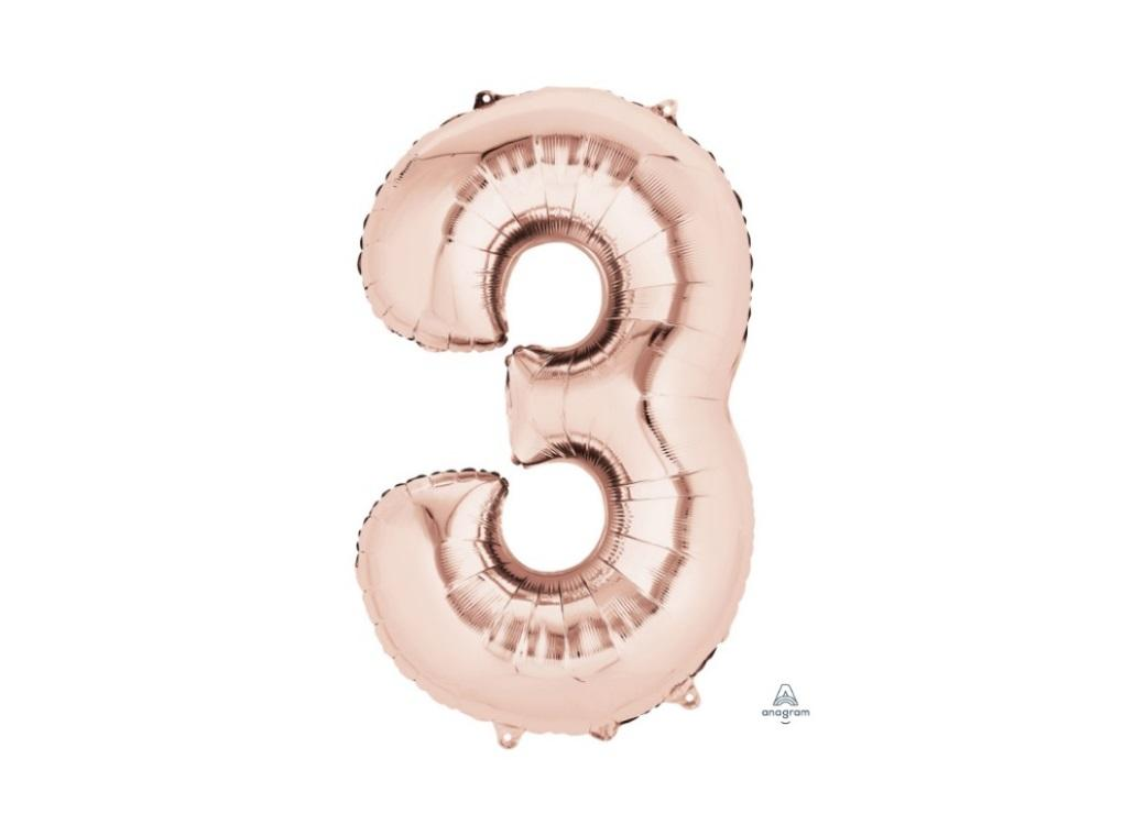 86cm Rose Gold Number Balloon - 3