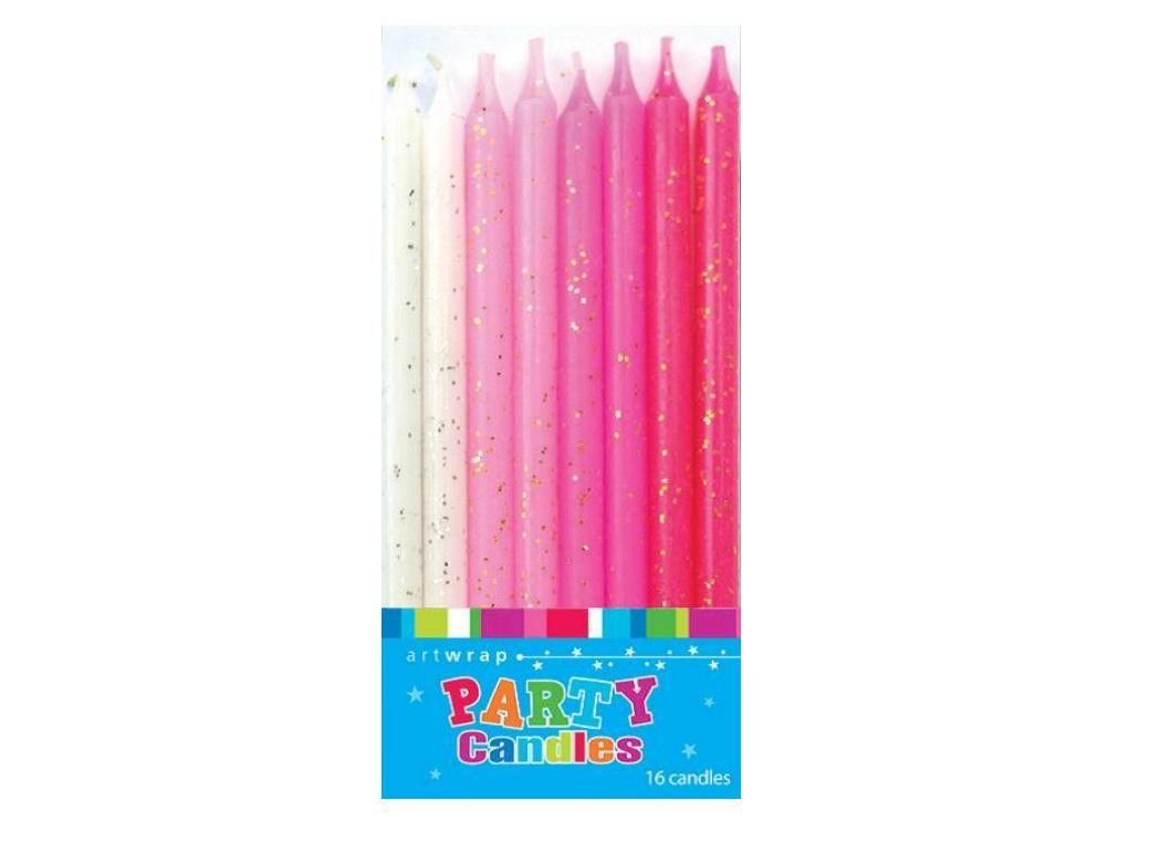 Pink Glitter Candles 16pk