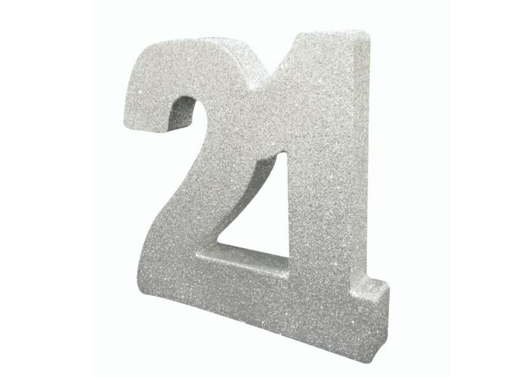 Glitter Number 21 Centrepiece - Silver