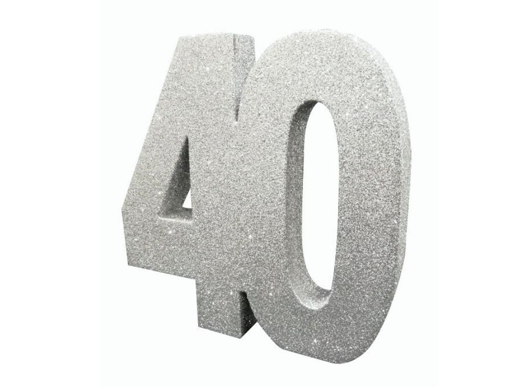 Glitter Number 40 Centrepiece - Silver