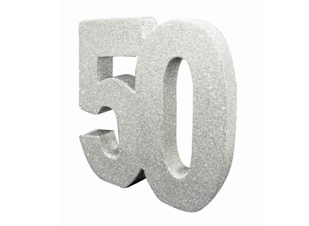 Glitter Number 50 Centrepiece - Silver