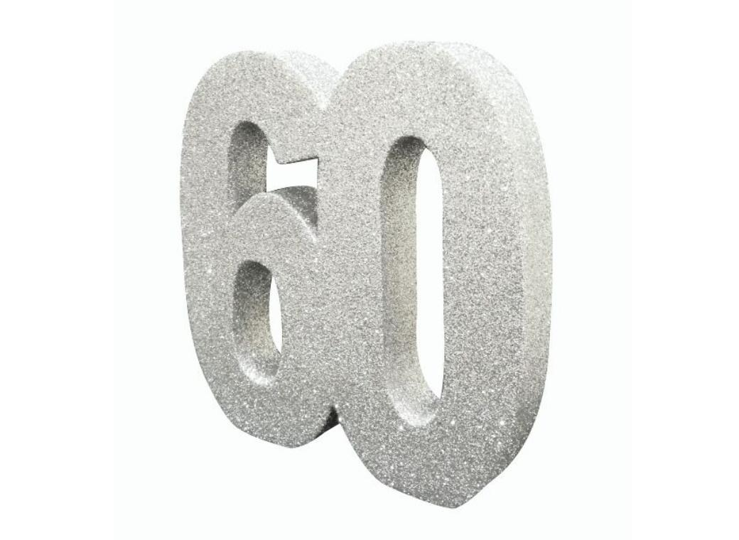 Glitter Number 60 Centrepiece - Silver