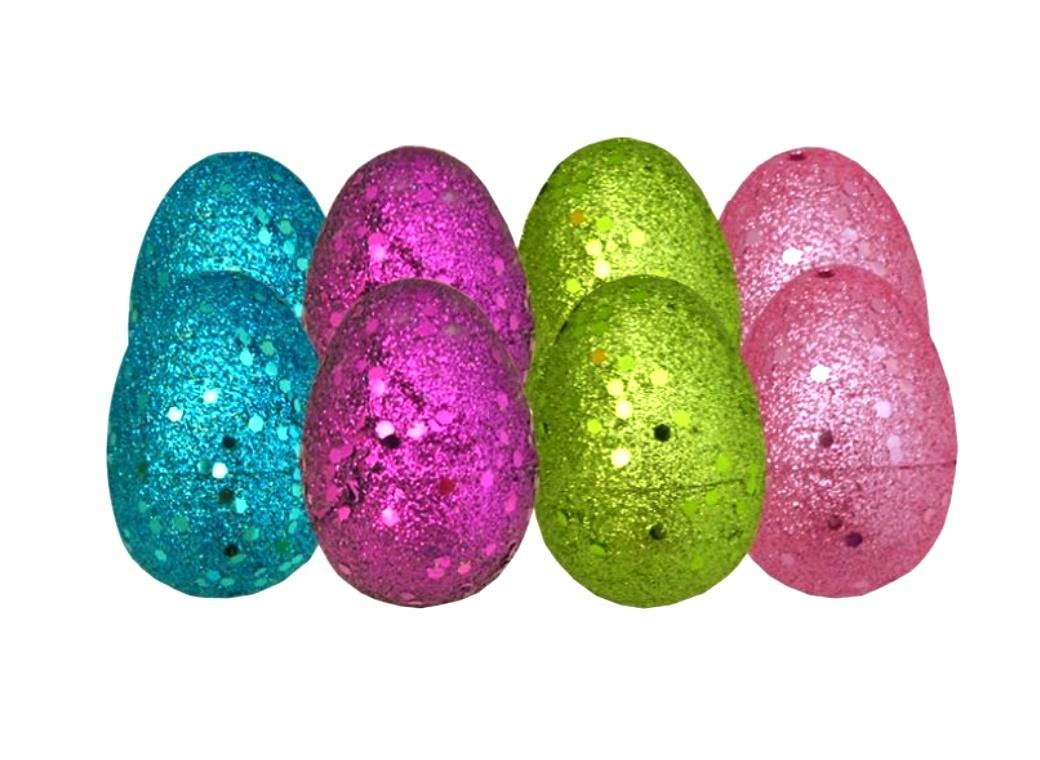 Fillable Medium Glitter Easter Eggs 8pk