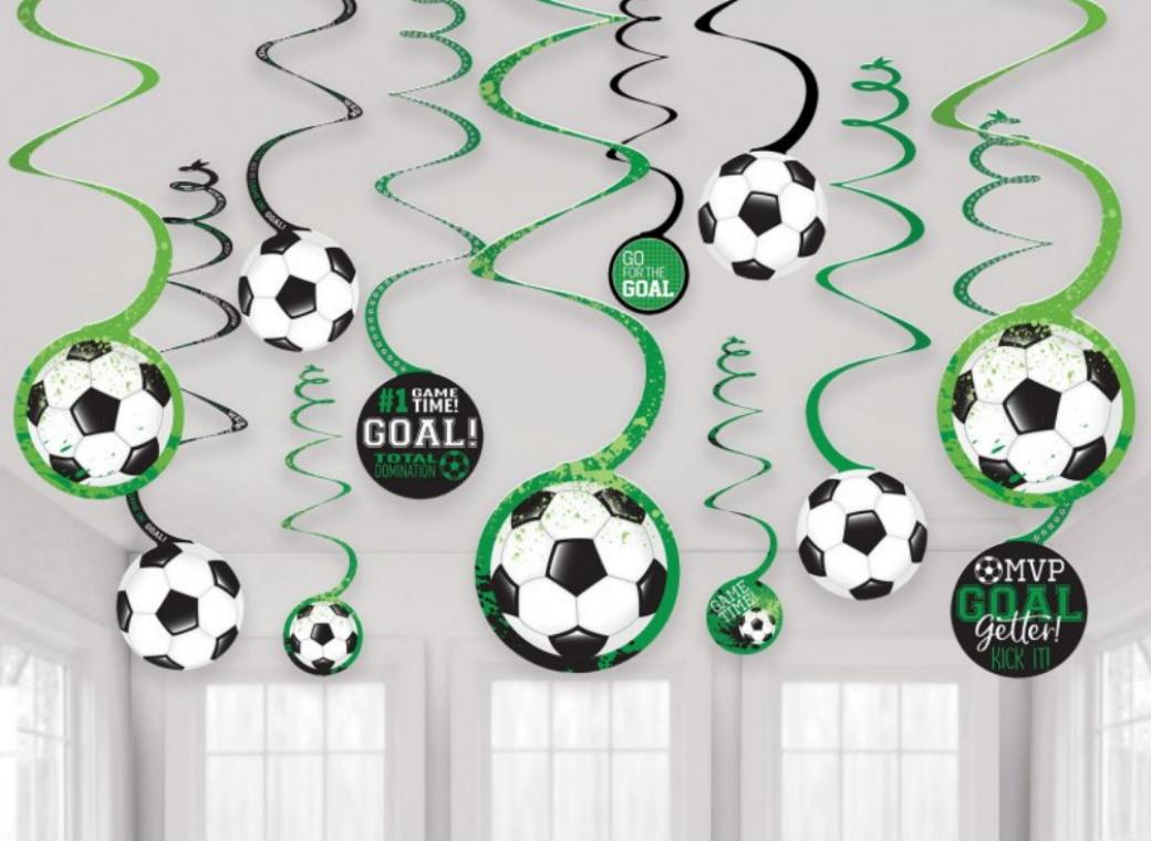 Goal Getter Soccer Hanging Spiral Decorations