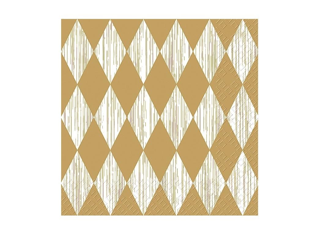 Gold & White Diamonds Napkins 20pk
