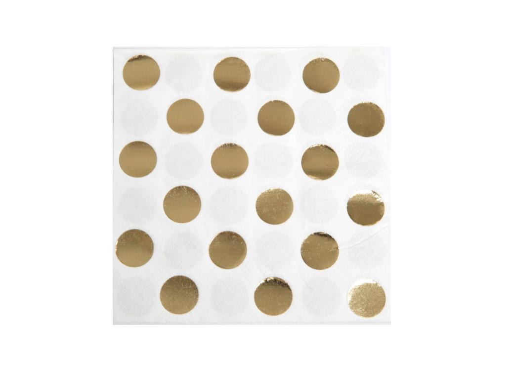 Gold Dots Beverage Napkins 16pk