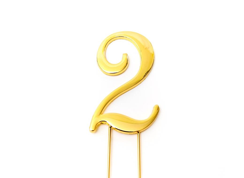 Gold Cake Topper - Number 2
