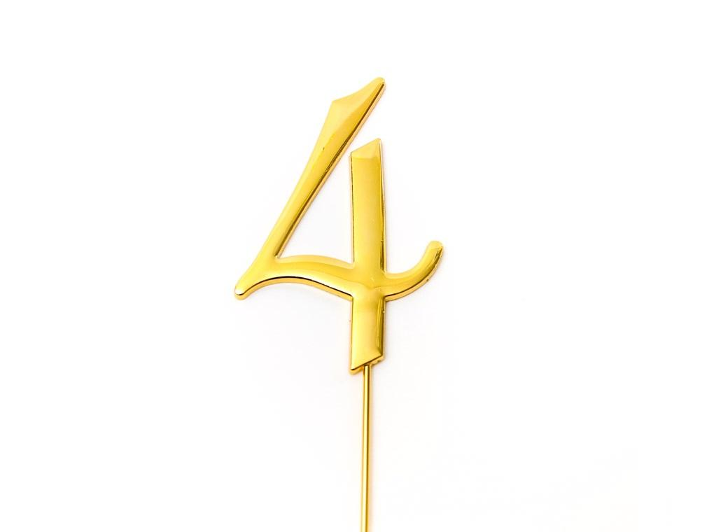 Gold Cake Topper - Number 4
