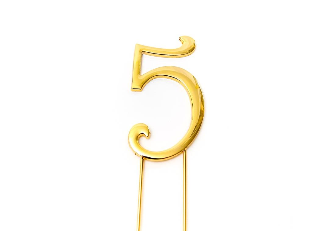 Gold Cake Topper - Number 5