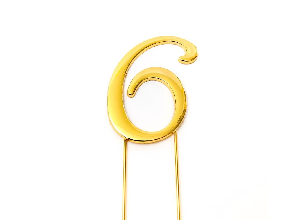 Gold Cake Topper - Number 6
