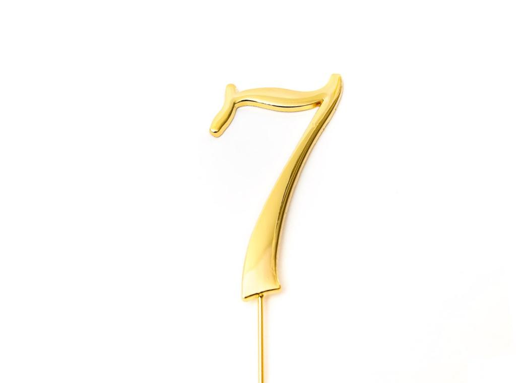 Gold Cake Topper - Number 7
