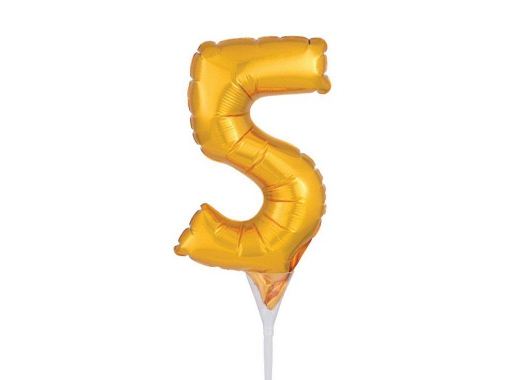 Gold Balloon Cake Topper No 5