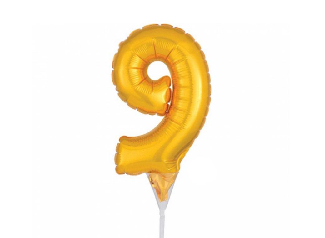 Gold Balloon Cake Topper No 9