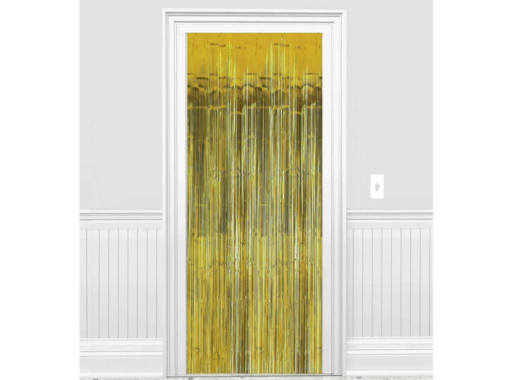 Gold Foil Fringed Door Curtain