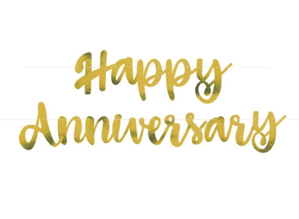 Happy Anniversary Gold Foil Banner