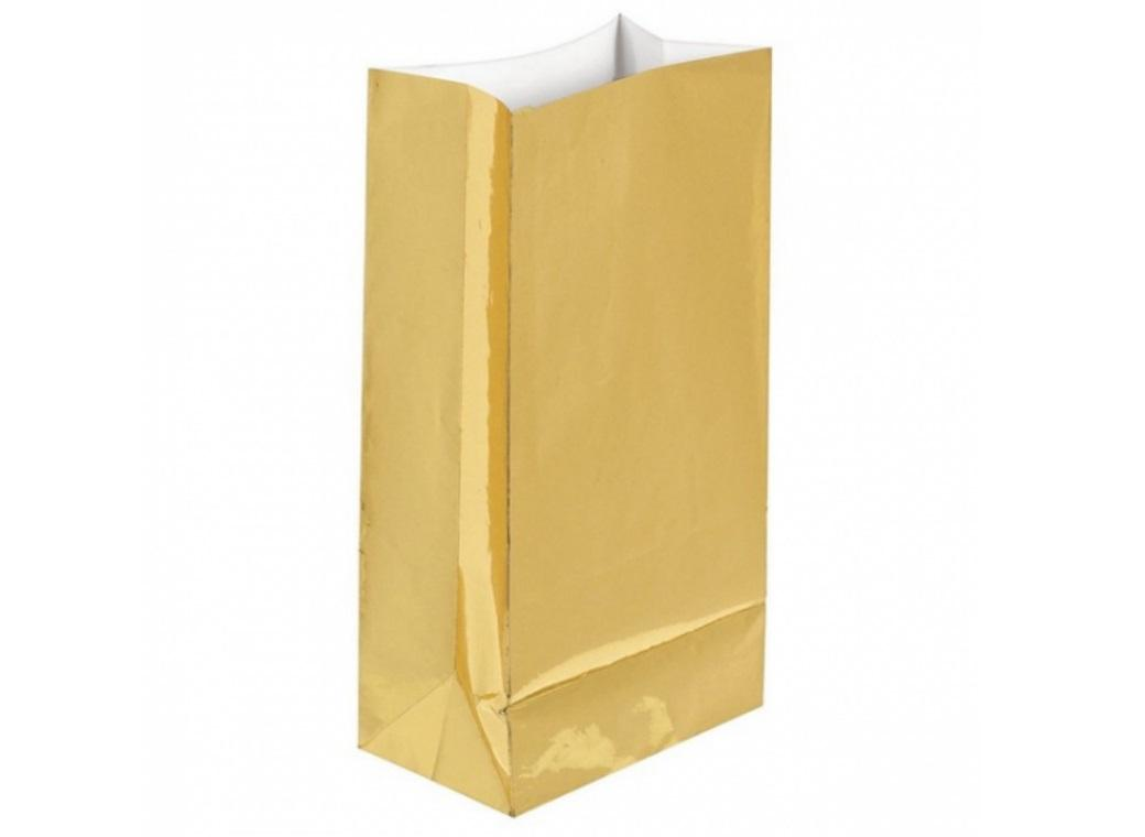 Paper Treat Bags 12pk Gold Foil