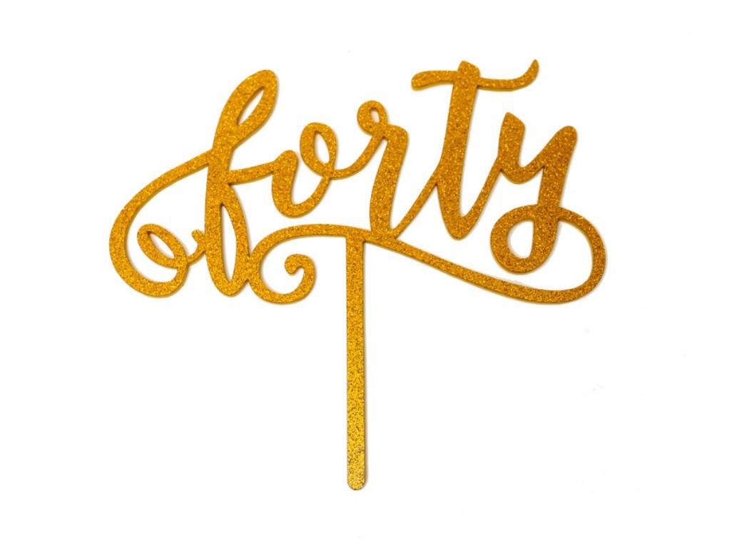 Gold Glitter Acrylic Cake Topper - Forty