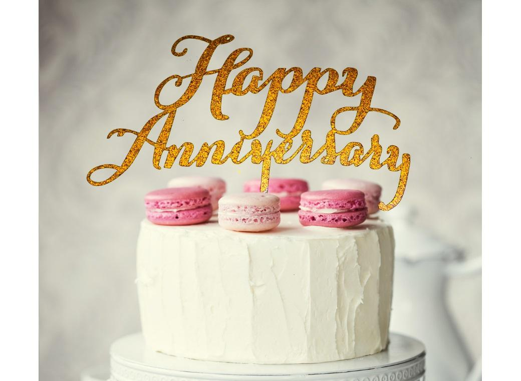 Happy Anniversary Cake Topper - Gold
