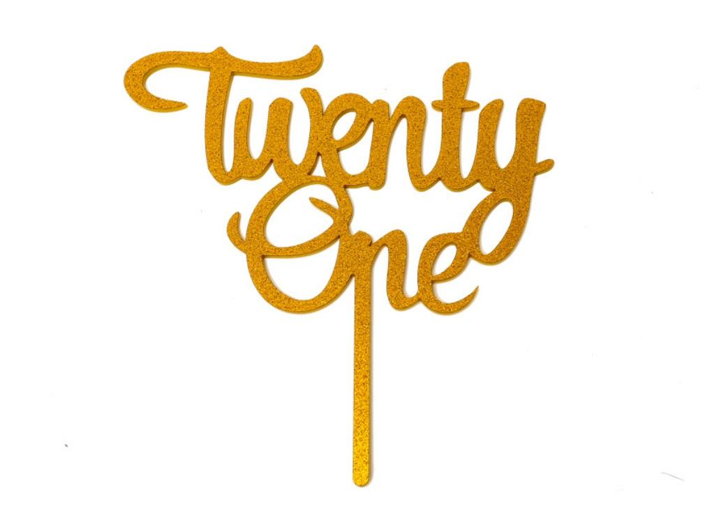 Gold Glitter Acrylic Cake Topper - Twenty One