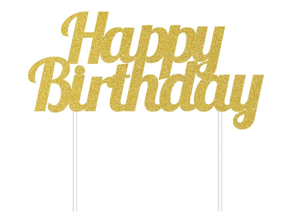 Gold Glitter Cake Topper - Happy Birthday