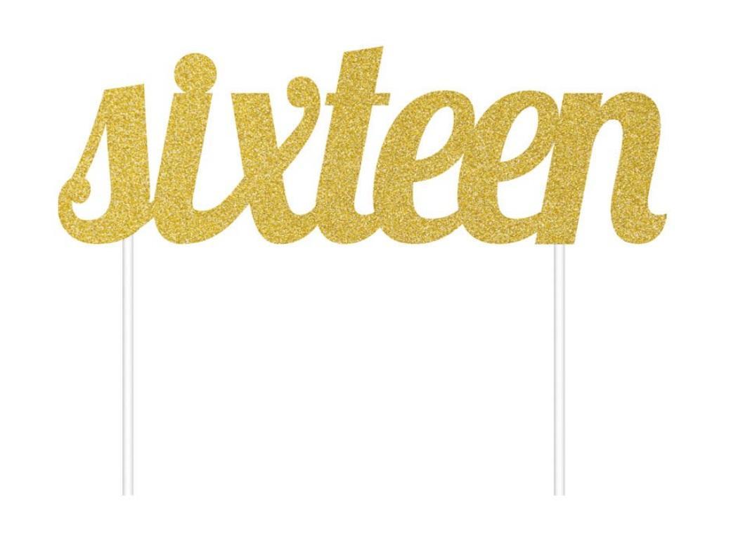 Gold Glitter Cake Topper - Sixteen