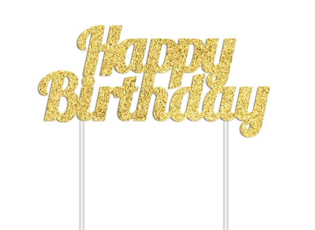 Glitter Cake Topper - Happy Birthday Gold