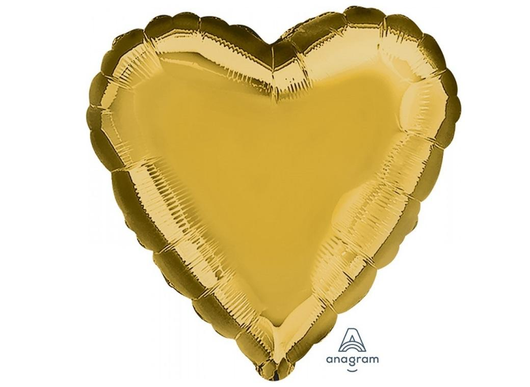 Heart Shaped Foil Balloon - Gold